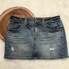 London Jeans Blue Distressed VS Low 5 Flap Mini Skirt Med Wash Shabby Hipster  0