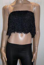 ZARA WOMAN Brand Black Lace Over Bandeau Boob Tube Top Size S BNWT #TR78