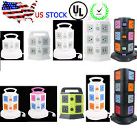 Vertical Tower Socket USB Smart Charger Surge Protector Multi-outlet Power Strip