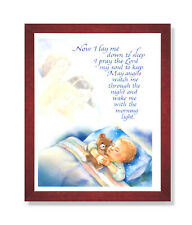 Boy Bed Prayer Religious Kids Room Wall Picture Cherry Framed Art Print