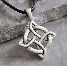 Antique 925 Silver Plt Endless Celtic Knot Pendant Necklace, Ladies Mens Gift