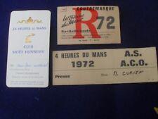 """LOT DE 3 TIQUETS  ORIGINALE ANCIENS   """" 24H DU MANS   1972 """" POUR  LA PRESSE"""