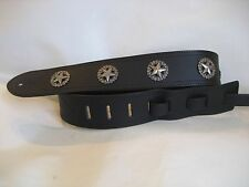 LEATHER BLACK STAR BASS, ACOUSTIC GUITAR STRAP