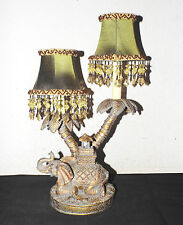 "LAMPS A VINTAGE 17""H DUEL BULB TWIN SHADED BEAUTIFUL CERAMIC ELEPHANT TABLE LAMP"