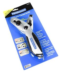Personna Flip-Lock Retractable Carpet Knife Cutter with 5 Blades Utility Razor