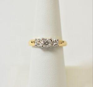 1 ct Genuine 3 STONES Round Diamonds Engagement Ring 14K YELLOW Gold Size 7