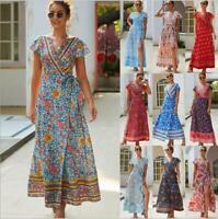 Women's Cocktail Sundress Boho Dress Floral Summer Party Long Beach Evening Maxi