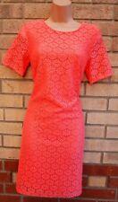 G21 Melocotón Rosa Encaje Crochet Ceñido Tubo Boda Fiesta Vestido De Té Holgado 10 S
