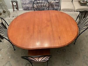 Canadel Solid Wood & Iron Round or Oval Dining Table with Leaf and 4 Chairs