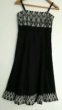 MONSOON cocktail dress size 8 knee length black white embroidery --Brand NEW--