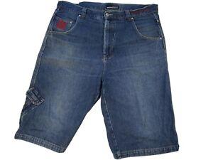 Drunknmunky Denim Mens Shorts Size 38 Blue Streetwear Cotton Logo Cargo Style