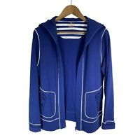 Jones NY Sport Women's Full Zip Sailor Collar Stretch Jacket size M Blue & White