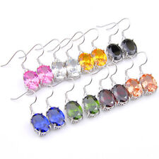 Engagement Jewelry Set Rainbow Topaz Peridot Morganite Silver Danlge Earrings