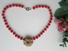 "Red Coral Gemstone OOAK Necklace w Unakite Hand Carved Flower Gem Pendant - 16""."