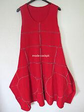 BORIS INDUSTRIES cooles Zipfel Träger Kleid Lagenlook Ziernähte rot 48 (5)