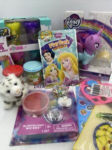 Mixed Toy Box Lot Girls Age 5+ Slime Stickers Plush Tiger My Little Pony