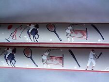 Vintage 1930's Sports Baseball Tennis Golf Polo Hand Painted Wallpaper Border