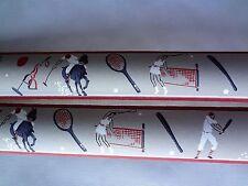 Vintage 1930's Sports Baseball Tennis Golf Polo Hand Painted Wallpaper Border