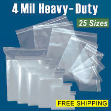 Assorted Clear 4-Mil Zip Top Bags HEAVY-DUTY Resealable Plastic Zipper Baggies