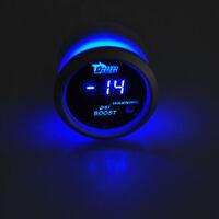 "2"" 52mm Black Cover Car Auto Digital Blue LED PSI Turbo Boost LED Gauge Kit W8"