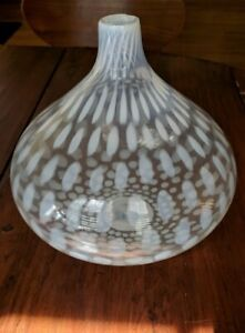 Vintage Hand Blown Opalescent Onion Shaped Large Glass Vase