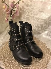 STEVE MADDEN 'Spunky' Black Leather Studded Combat Boots, 6M VGUC