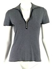 LORO PIANA Navy & White Striped Stretch Cotton Knit V-Neck Polo Top 42