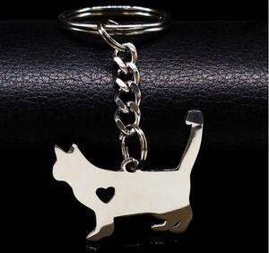 Schlüsselanhänger Edelstahl Katzen Liebhaber Key Chain Katze kitten cat Tier