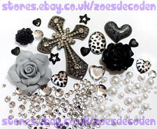 DIY Mobile cell Phone Case grey black silver cross metal cabochon Deco Den Kit