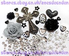 DIY Mobile cell Phone Case grey black silver cross metal cabochon Deco Den Kit
