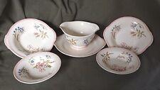 Limoges Candlelight Four Bowls Gravy Boat Underplate Pink Floral Porcelain USA