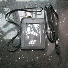 One genuine leather ID Card Holder and Two Strap Lanyard for Retractable Badge
