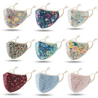 3Pcs Face Mask Floral Print Reusable washable soft Anti Haze Face Cover Fashion