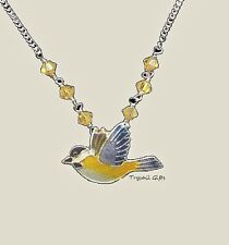 CHICKADEE Cloisonne NECKLACE Bamboo Jewelry STERLING Silver Enamel BIRD + Boxed