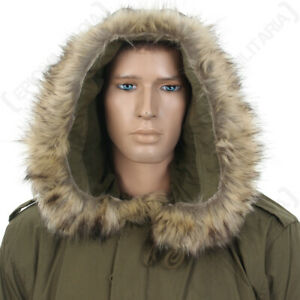 US M51 Parka Hood with Faux Fur - Olive Drab America Army Military Repro New