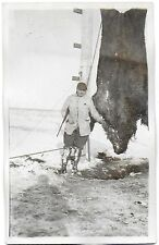 RPPC of a Hunter and His Prize Grizzly Bear Hanging Next to Him c1925