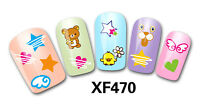 Nail Art Water Decals Stickers Transfers Easter Chicks Flowers Hearts Kawaii 470