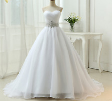 White Ivory A Line Wedding Dresses Beading Organza Sweetheart Bridal Gown Custom
