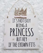 Princess nursery crown decoration girls pink and gold bedroom wall plaque sign