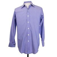 Turnbull & Asser French Cuff Mens 15 x 32 Blue Check Button Front Dress Shirt