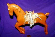 """Vintage Leather Covered Toy Horse - Wood & Leather with Saddle  7"""""""