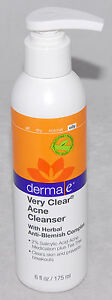 DermaE - Very Clear Acne Cleanser - Oily 6 oz Anti Blemish Complex Exp 7/19 *NEW