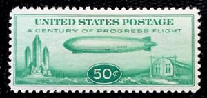 US Airmail SC #C18 Green 50¢ Zeppelin MH/Original Gum