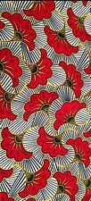 tissu wax 100 %coton fleurs de mariage rouge.å partirde 1 mètre largeur 120cm.