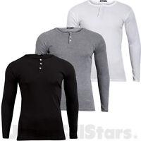 Mens Long Sleeve T Shirt Button Neck Stretch T-Shirt Top Sweatshirt Size S-XL