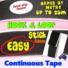 Hook & Loop Tape Sticky Back Adhesive Fastener 50mm Black  Per Metre Good Grip,
