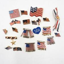 Vintage & Modern Lot of 20 United States Flag Brooch Jewelry Pin