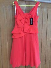 New with Tags Karen Millen Silk Cocktail Party Evening Ball Dress Orange Size 14