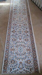 Antique Hand Knotted Wool 11' Long Runner Rug Oriental Beige Earth Tones