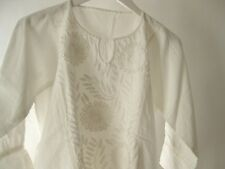 Mexican Embroidered Flowers Long Sleeve Chiapas Top in Manta White Sz S